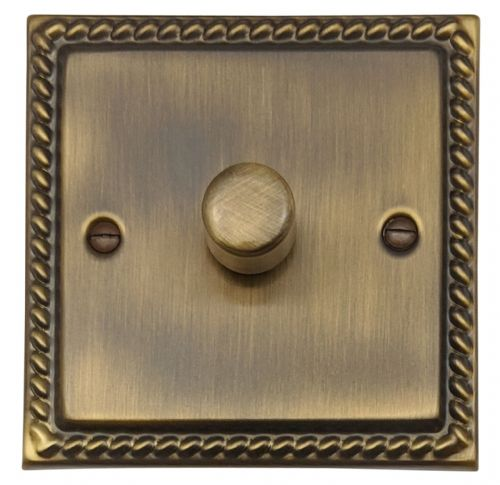 G&H MAB15 Monarch Roped Antique Bronze 1 Gang 1 or 2 Way 700W Dimmer Switch Single Plate